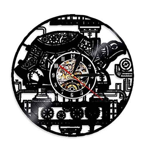 Steampunk Turtle Wall Clock Steampunk Sea Turtle Vintage Ornament Gear Cogs Vinyl Record Clock Animal Lovers Decorative Clock