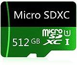 Tarjeta Micro SD de alta velocidad de 512 GB diseñada para smartphones Android, Tablets Clase 10 SDXC tarjeta de memoria con adaptador (512 GB)