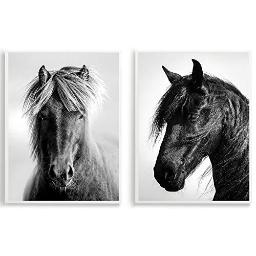 Design Pferde Poster 2er Set - Schwarz Weiß Wand-Poster DIN A3 - Kunstdrucke auf Premiumpapier mit oder ohne Bilder-Rahmen - Wand-Deko für Kinderzimmer, Baby-Zimmer oder Mädchen-Zimmer (ohne Rahmen)