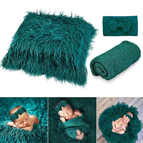 Outgeek Newborn Fotografia, 3PCS Recién Nacido Atrezzo Fotográfico Lindo Decorativo Swaddle Wrap Fotografía Mat y Diadema