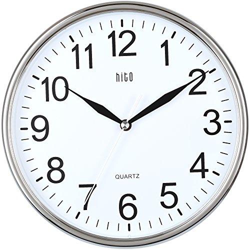 HITO™ Modern Silent Non-ticking Wall Clock- 10 Zoll (Chrome)