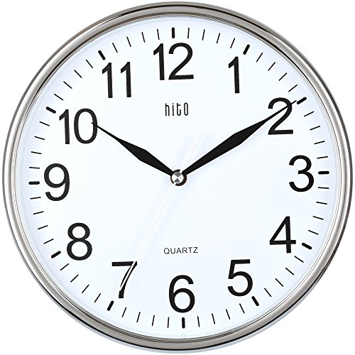 HITO™ Modern Silent Non-ticking Wall Clock- 10 Zoll (Chrome)