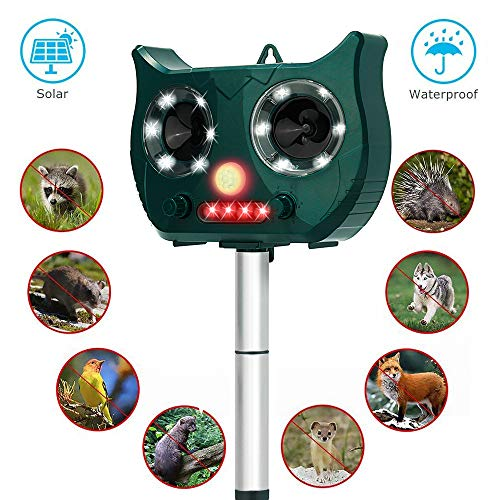Fierre Shann Ultrasonic Solar Animal Repeller with Outdoor Waterproof,Motion PIR Sensor and Flashing Light for Birds, Raccoons, Squirrels,Moles,Foxes, Rats, etc.