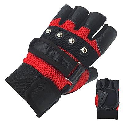 HONGYE Men's Soft Sheep Leather Motorcycle Biker Fingerless Gloves 3 Colors