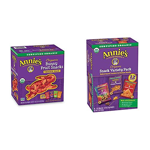 Annie's Organic Bunny Fruit Snacks, Variety Pack, Gluten Free, Vegan, 24 ct & Snack Pack, Cheddar Bunnies, Friends Bunny Grahams and Cheddar Squares, Baked Snack Crackers, 12 (11 oz.) Pouches