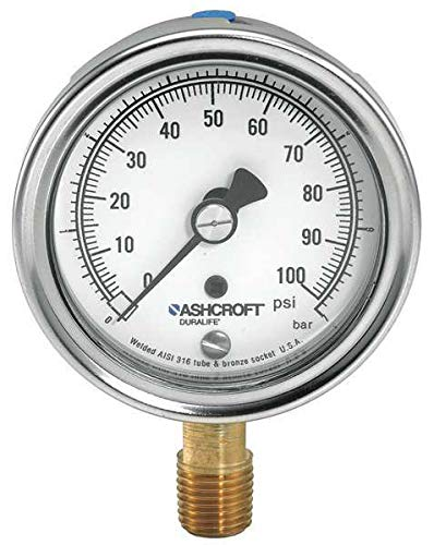 Purchase Ashcroft Company 251009AW02L300 2-1/2 300# PRESS GAGE 1009 1/4LC