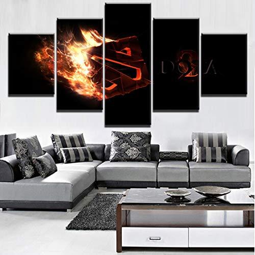 Angel&H Modern HD Gedruckt Gemälde Segeltuch Zuhause Dekorativ 5 Panels Dota 2 Feuer-Logo Spiel Poster Modular Wandkunst Bilder,B,20x30x2+20x50x1+20x40x2
