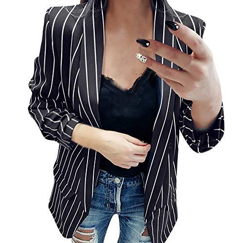 BOLAWOO Giacca da Donna Donna da Giacca Manica Elegante Lunga Mode di Marca da Donna a Righe Spolverino Cappotto Cappotto da Lavoro Casual Cardigan (Color : Schwarz, Size : L)