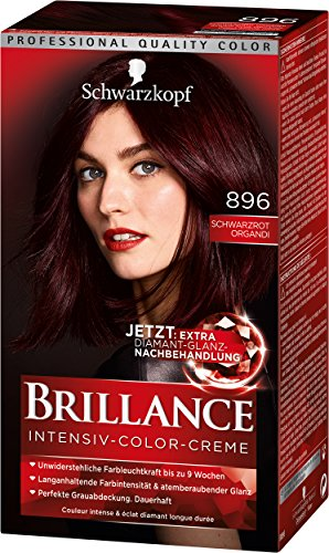 Schwarzkopf Brillance Intensiv-Color-Creme, 896 Schwarzrot Organdi Stufe 3, 3er Pack (3 x 143 ml)