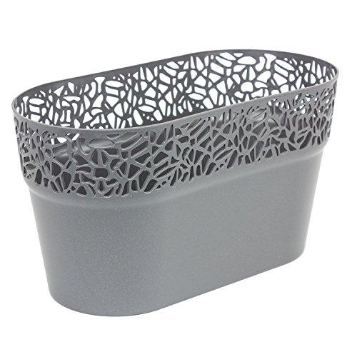 Ovale cache-pot NATURO plastique romantique style, graphite
