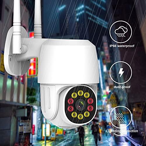 Monitor de cámara inalámbrica 1080P con 4 luces infrarrojas y 6 luces blancas con tres modos de monitoreo para bebé, anciano, monitor de mascotas(Transl)
