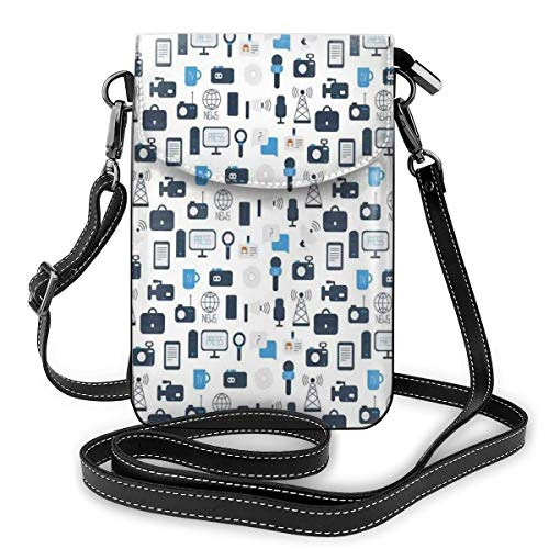 Jiger Women Small Cell Phone Purse Crossbody,Journalism Mass Media Communication Theme Icons Press TV News