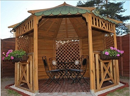 GARDEN WOODEN OCTAGONAL GAZEBO, WITH SHINGLES - CHOICE OF COLOURS! DIAMETER 3.5 m PERFECT FOR HOT TUBS (Green shingles)