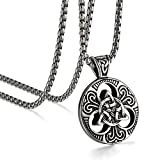 JewelryWe Schmuck Edelstahl Anhänger Halskette Silber Ton Schwarz Irish Celtic Knot Irischen Keltisch Knoten Triquetra Herren,mit 56cm Kette