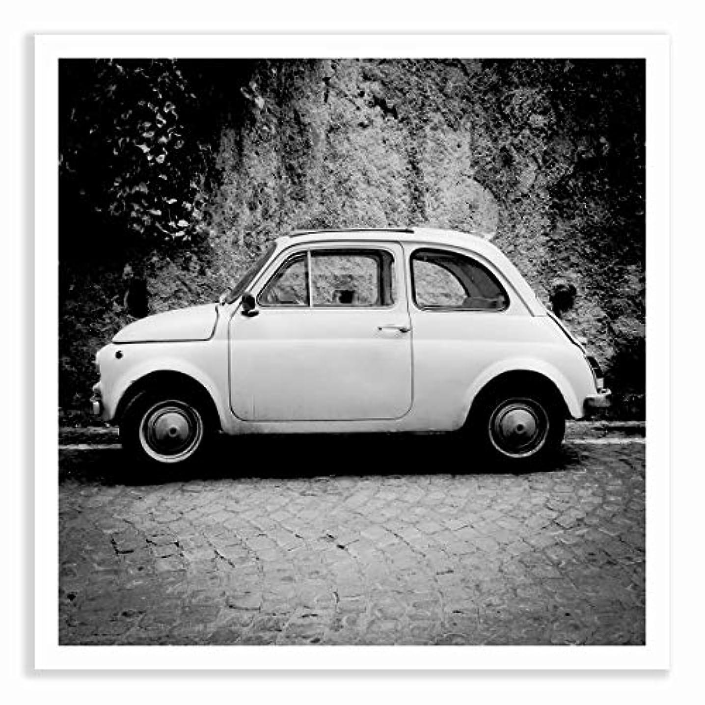 Fiat 500 Black and White Satin Black Aluminium Frame with Mount, Multicolored, 60x60