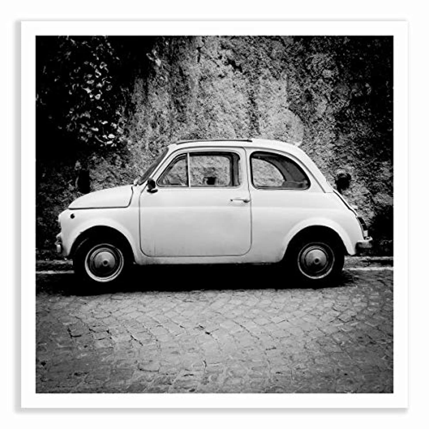 Fiat 500 Black and White Satin Black Aluminium Frame with Mount, Multicolored, 40x40