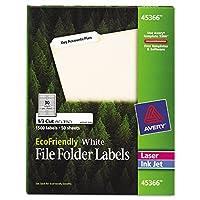 EcoFriendly Labels, 2/3 x 3-7/16, White, 1500/Pack (並行輸入品)