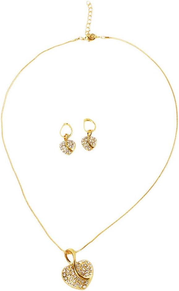 Cngstar Heart Shaped Necklace Rhinestone Stud Earrings Wedding Jewelry Set