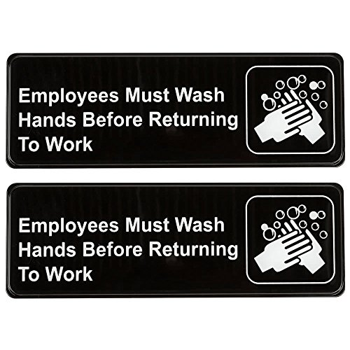 Employees Must Wash Hands Before Returning to Work Sign (Pack of 2) Black and White, 9' x 3'