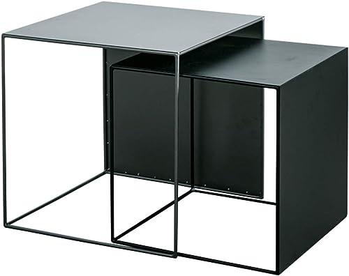 ZHIRONG Satztisch, Kaffee Endtische Modernes M ldekor Beistelltisch Für Wohnzimmer Balkon Haus Und Büro, Schwarz