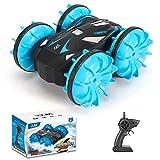 The perseids Lademodus Amphibisches ferngesteuertes Stuntauto, wasserdichtes Gelndewagen mit 4WD-Fernbedienung, doppelseitiges Fahrertank-Spielzeugauto (blau)