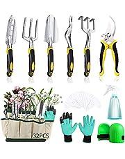 MEISHANG Tuingereedschapsset, tuingereedschapsset, gereedschap met tuinschaar, puntschep voor tuinverzorging, bloemenschaar, tuingereedschap, tas, roestvrij staal tuinschaar, hark
