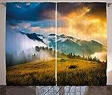 ABAKUHAUS Paisaje Cortinas, Misty Mountaintops, Sala de Estar Dormitorio Cortinas Ventana Set de Dos Paños, 280 x 225 cm, Amarillo Azul Verde