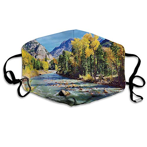 Comfortable Printed mask, Mountains of Colorado with Lush Forest and River Summer Foliage Idyllic Photo,Windproof Facial decorations for man and woman