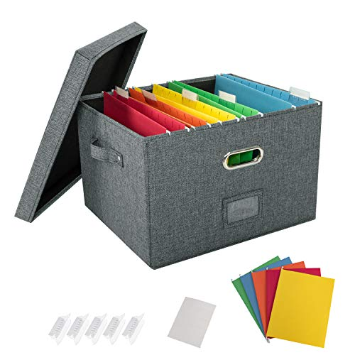 JSungo File Organizer Box Office Document Storage with Lid, School Collapsible Linen Hanging Filing Organization, Home Portable Storage with Handle, Letter Size Legal Folder, Dark Gray