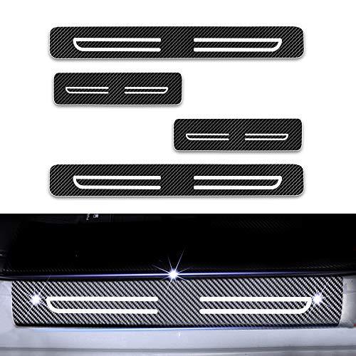 4D Carbon Einstiegsleisten Folie, Lackschutzfolie Selbstklebend, Lackschutz Aufkleber für Citigo Kodiaq Fabia Rapid Octavia Yeti Superb Weiß 4 Stück