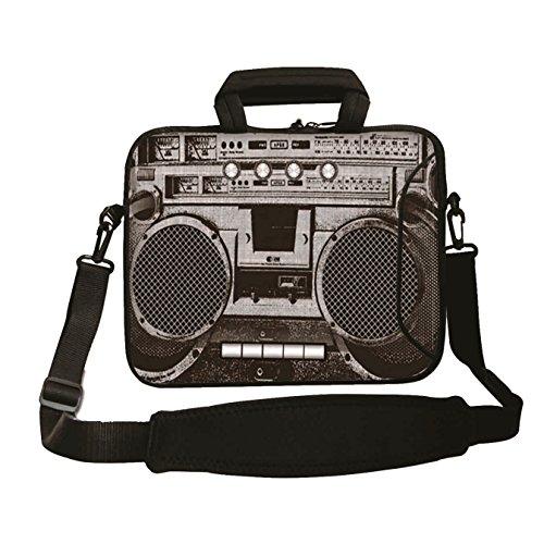 17 inch anti-shock  Laptop Bag with 80s Ghettoblaster Print