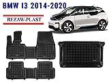Rezaw-Plast All Weather Floor Mats Trunk Liner Set for BMW i3 Hybrid Electric 2013-2020 Custom fit