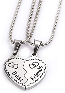 Yellow Chimes 2 PCS Best Friends Silver Plated Pendant for Girls (YCFJPD-N35BST-SL)