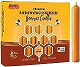 Brubaker Confezioni di 20 Candele per Albero 10% Cera D'Api Candele di Natale Candele per Albero di Natale Piramide Miele - Giallo