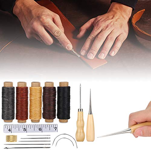 Herramientas para manualidades de costura con herramienta de costura de cuero con dedal, herramienta de costura manual de cuero, para coser cuero para el hogar