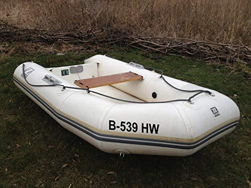ShirtInStyle Bootsaufkleber für Schlauchboote, Angelkahn Boots Nummer Kennzeichen Set 2 Stück 10cm Hoch, Aufkleber Folie, Farbe Weiß