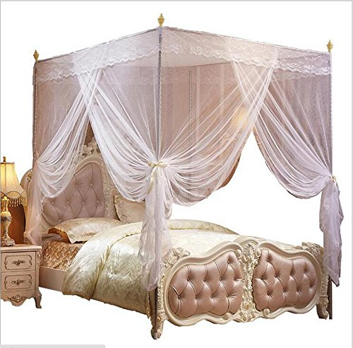 Nattey 4 Corners Bed Curtain Canopy Net Canopies for Girls Princess Boy Bed (King, White)