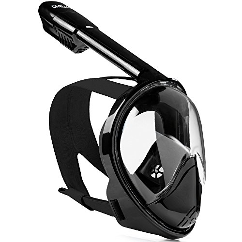 DIVELUX Snorkel Mask - Original Full Face Snorkeling and Diving Mask with 180° Panoramic Viewing - Longer Ventilation Pipe, Watertight, Anti Fog & Anti Leak Technology, (Black, L/XL)