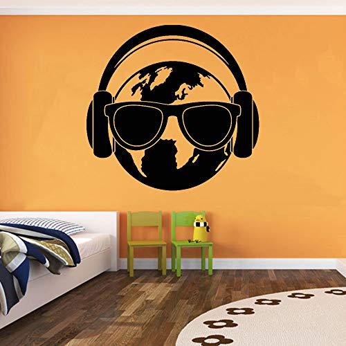 JXWH Mondo Cuffie Occhiali Adesivi Murali Stanza Teenager Terra Pianeta Vinile Adesivo Soggiorno Room Giochi Fashion Decorazione 45x46.5cm