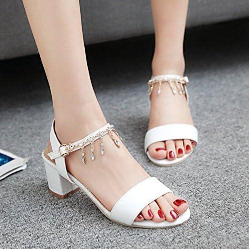 YMFIE Damen Quadratische Ferse Strass Toe Mid-Heel Sandalen Sandalen Sandalen Sommer Stil Temperament Offene Zehe Sandalen  das beste Online-Shop-Angebot