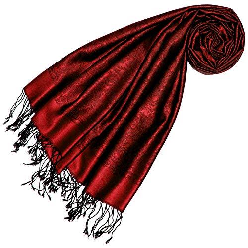 Lorenzo Cana Luxus Pashmina 70% Seide 30% Viskose mit Paisley Muster Schaltuch 70 cm x 190 cm zweifarbig roter Schal Stola Damenschal 7861877