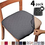 Gute Chair Seat Covers, Dining Room Chair Seat Covers with Ties, Stretch Jacquard Chair Covers Protectors for Dining Room Kitchen Chairs - Set of 4, Rhombic, Grey
