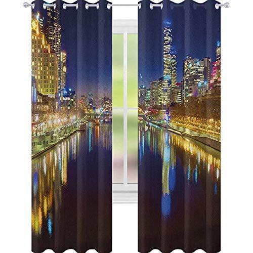 YUAZHOQI - Cortinas para sala de estar con vistas hacia abajo el río Yarra en una hermosa noche en Melbourne, cortinas de reflexión de agua, 132 x 241 cm, color amarillo índigo