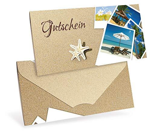 Gutscheinkarten (10 Stück) - Geschenkgutscheine für Reise, Reisebüro, Urlaub - DIN lang Faltkarte verschließbar, blanko Vordruck zum Eintragen der Werte