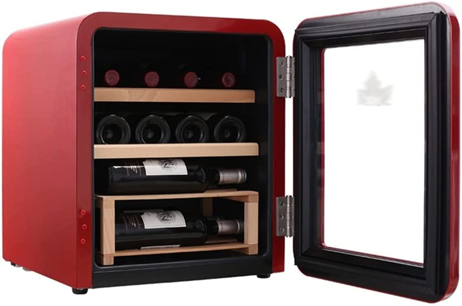 Enfriador de vino Refrigerador 16 Botellas, pequeña Bodega de Vino Independiente Rojo con encimera, Control de Temperatura, Puerta de Vidrio Templado, compresor silencioso