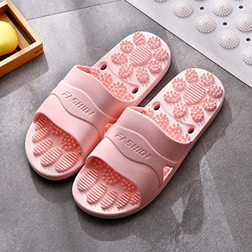 B/H Beach Slippers Flat Shoes,Bathroom massage anti-slip slippers, bath acupoint sandals-Pink_UK6-UK6.5,Non-Slip Soft Indoor House Slippers