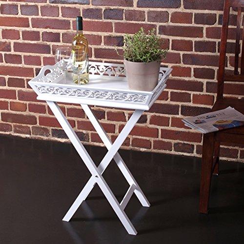 DESIGN DELIGHTS Plateau Table Style Cottage | Blanc chaulés, 63 cm, Bois | avec Table, Vintage