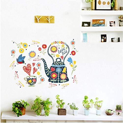 STPillow Muursticker, meerkleurige bloemen, theepot, kunst, woonkamer, slaapkamer, glazen venster, decoratie, home decoratief cadeau