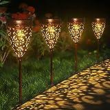 Solarleuchte Garten Metall, Tyndallrays 4 Stück Solarlampen für Außen LED Solar Gartenleuchten Warmweiß Gartenlicht Deko Wasserdicht Wegeleuchte für Terrasse Rasen Gehweg Landschaft