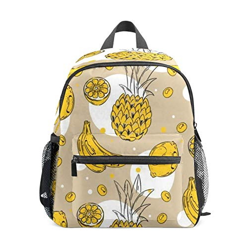 Kids Backpack Preschool Kids School Bag Boy Girl Lightweight Shoulder Book Bag for 1-6 Years Old Perfect Back Pack for Toddler to Kindergarten Yellow Pineapple Banana Lemon Paint